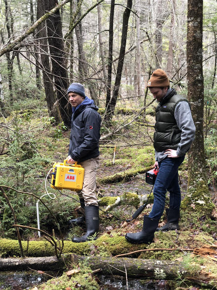 Mark and Dan sampling methane in an upland forest (Yale Myeres)