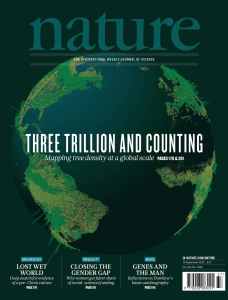 Cover of the journal Nature, featuring our work measuring all the trees on earth.